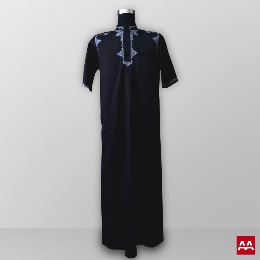 Baju gamis pria lengan panjang bordir warna hitam terbaik
