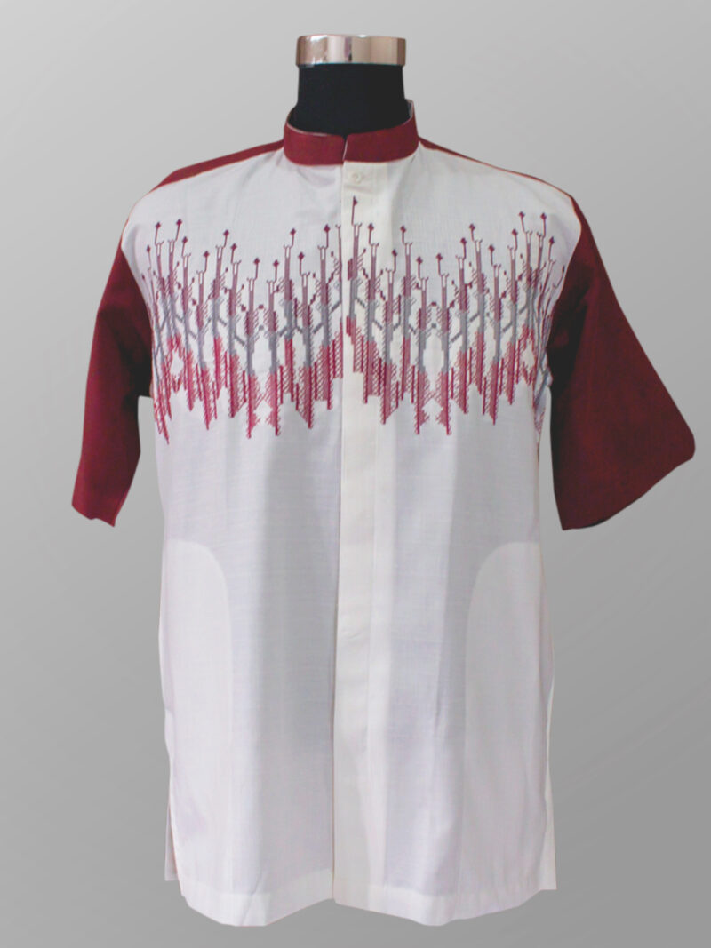 Baju koko modern trendi bordir warna merah marun terbaru