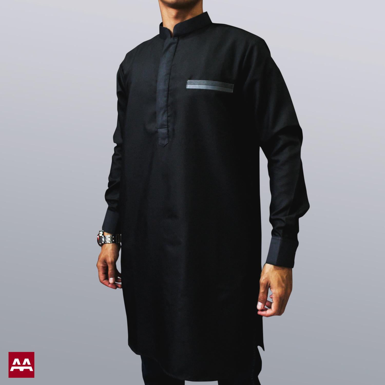 Baju kurta elegan terbaru warna hitam, baju muslim pakistan ternyaman