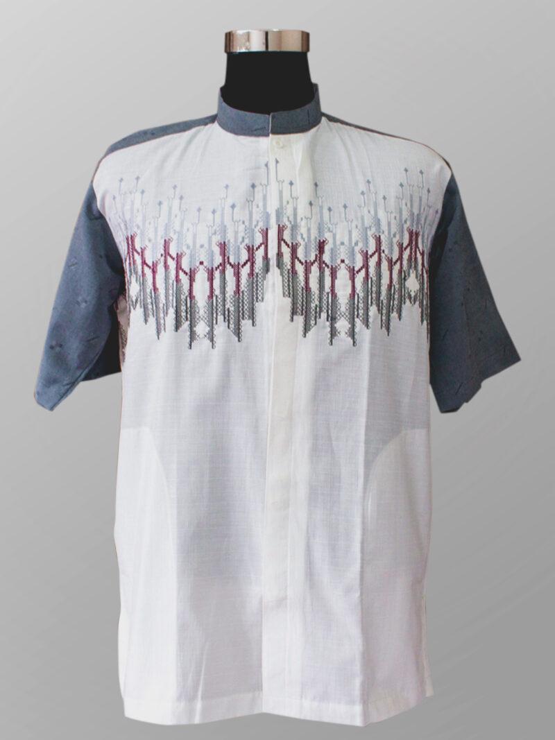 Baju koko modern trendi bordir warna abu abu muda terbaru