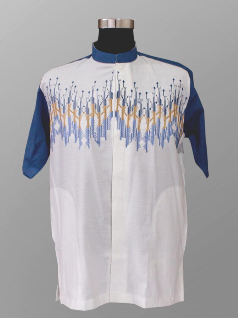 Baju koko modern trendi bordir warna biru kobalt terbaru