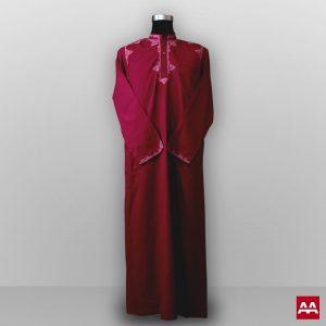 baju gamis pria lengan panjang bordir warna merah