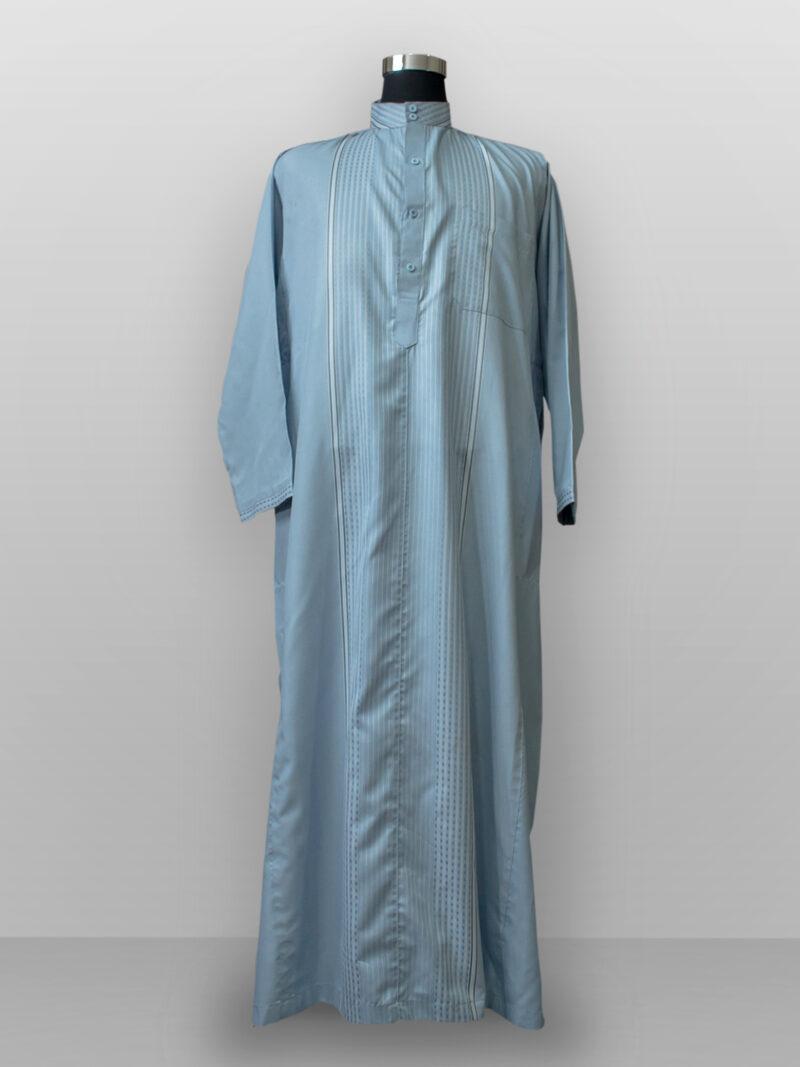 Baju gamis cowok dan pria kain halus biru pastel lengan panjang terbaru