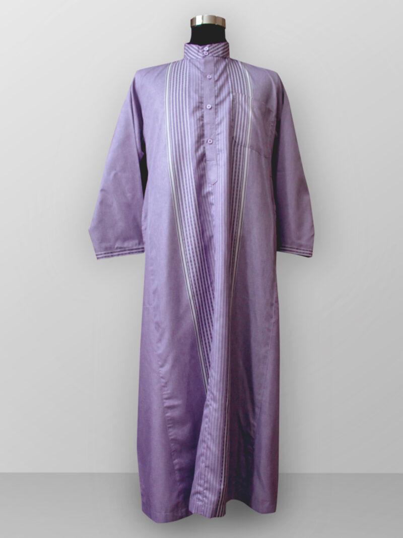 Baju gamis cowok kain halus lengan panjang warna ungu terbaru