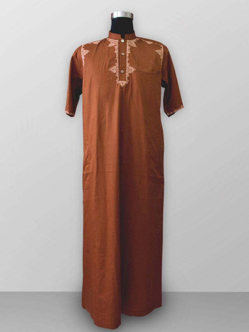 Baju gamis pria lengan panjang bordir warna coklat orange terbaik