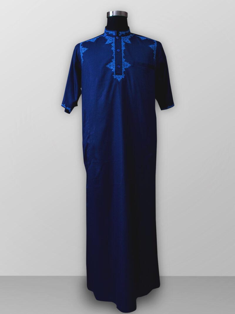 Baju gamis pria lengan panjang warna biru bordir terbaik