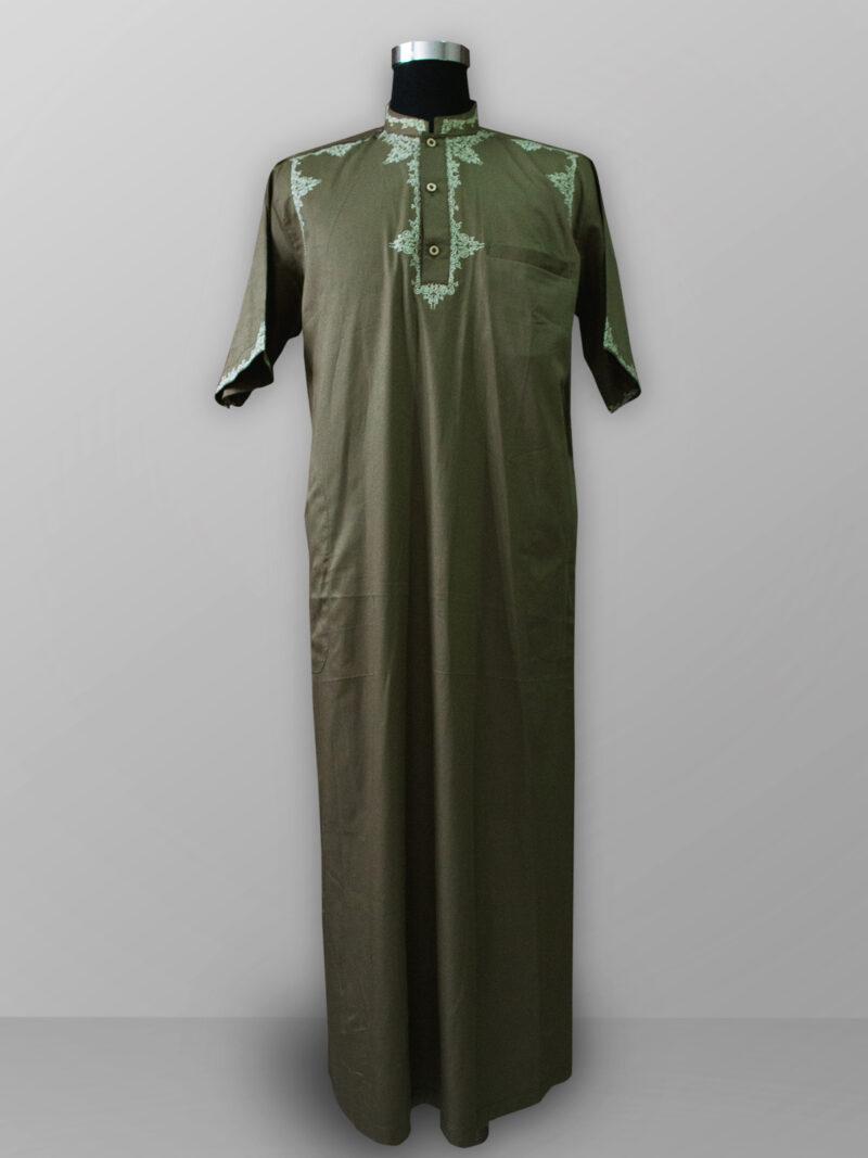 Baju gamis pria lengan panjang bordir warna hijau olive muda hijau botol terbaik